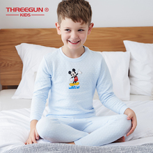 THREEGUN KIDS X DISNEY Mickey Mouse Boy Cotton Winter Pajamas Thermal Set Toddler Boys Clothes Kids