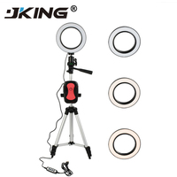 5.7 inch Ring Light Tripod Phone Stand Holder for Video Makeup Mini LED Camera Light with Smart Phone Holder Desktop LED Lamp