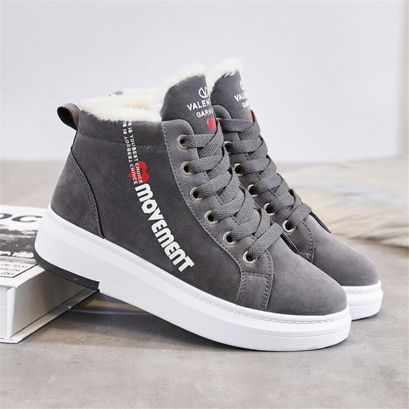 Cotton Shoes Female New Women's Boots 2019 Winter New Wild Warm Student Casual Shoes INS Thick High-Top Snow Boots 32