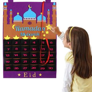 Image 2 - OurWarm Eid Mubarak Countdown Felt DIY Ramadan Calendar for kids with Pocket Castle Calendar Muslim Balram Party Decor Supplies