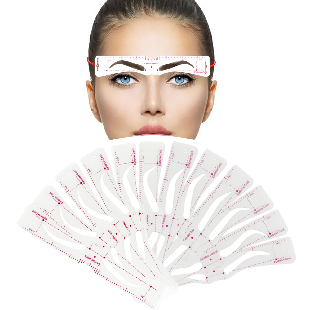12 pçs/set reutilizável sobrancelha estêncil conjunto olho sobrancelha diy guia de desenho modelagem de estilo grooming modelo cartão fácil maquiagem
