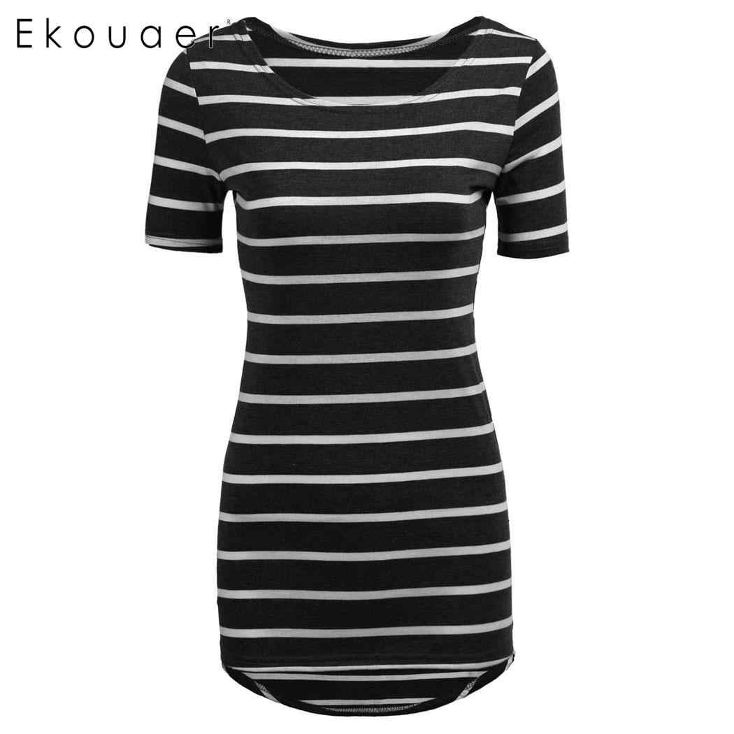 Ekouaer mulheres casual verão t camisas de manga curta listrado longo camiseta topos baratos senhoras cothes 6 cores