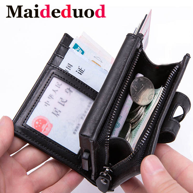 2019 New Leather Men Aluminum Wallet Back Pocket ID Card holder RFID Blocking Mini Magic Wallet Automatic Credit Card Coin Purse image