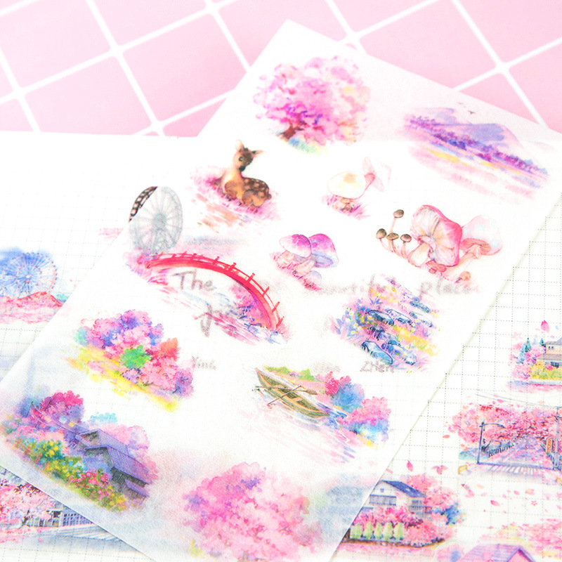 6 Sheets /Pack Pink Sakura Small Town Washi Paper Stickers DIY Album Hand Account Decoration image