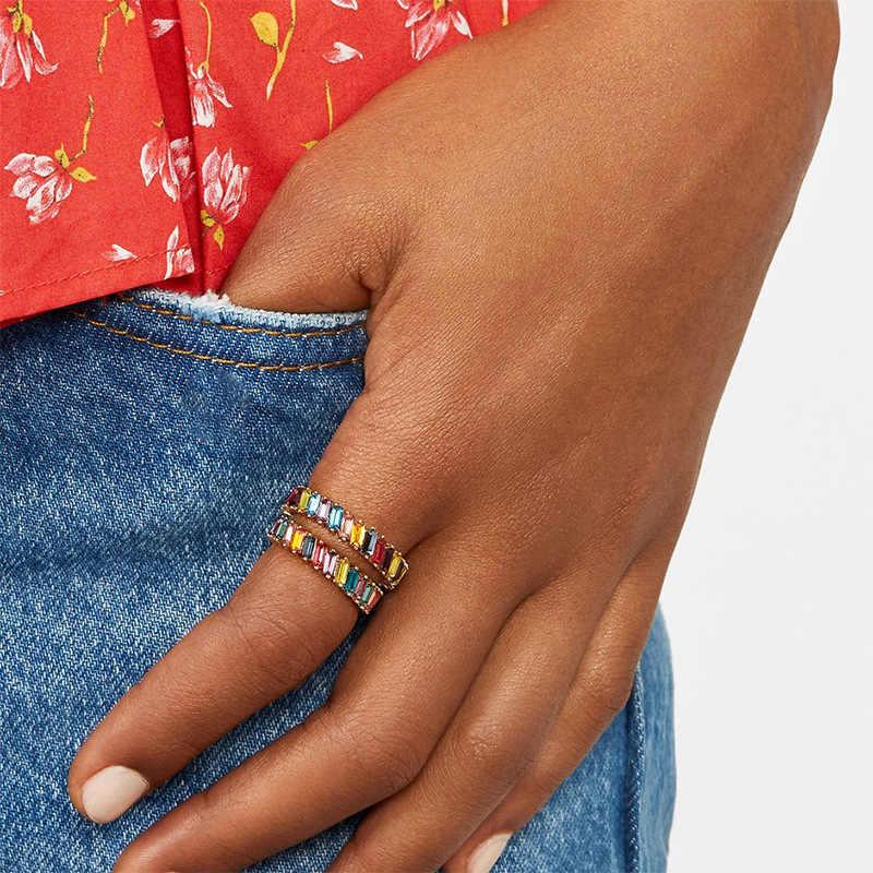 Cầu Vồng Kiểu Vòng Tròn Glamour Kính Màu Nhẫn Mới Zircon Ốp Hoa Trang Sức Thời Trang Nữ Cô Gái Đảng Tinh Tế Cặp Đôi Phụ Kiện
