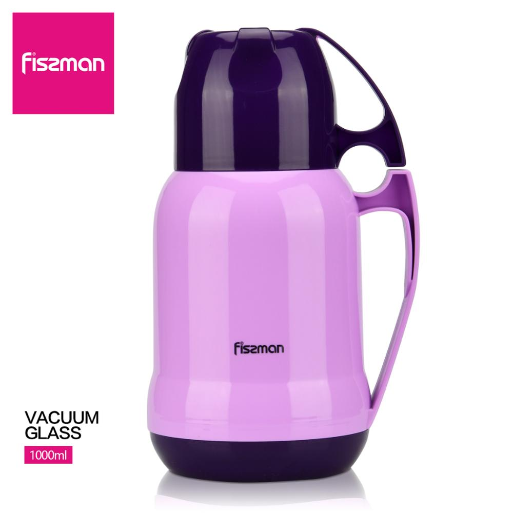 Fissman 1000ml Vacuum Glass Liner Bottle With Two Cups Design Violet Thermal Flask Kitchen Accessories