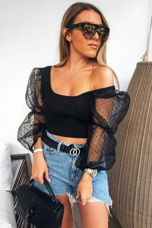 Fashion Transparent Mesh Dot Sexy Crop Top Women Square Neck Long Puff Sleeve T-shirt Black Party Top 2019 New