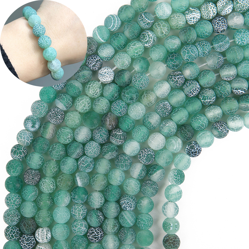4/6/8/10mm Natural Stone Matte Onyx Beads For Jewelry Making Diy Craft Frost Cracked Green Agates Beads Diy Bracelet Necklace