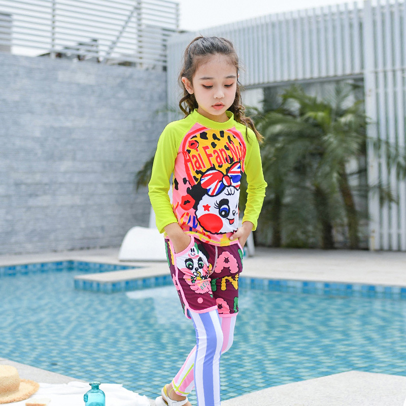 2019 New Style Children Diving Suit Fashion Sweet Cute GIRL'S Swimsuit Split Type Long Sleeve Sun-resistant Baby Swimwear