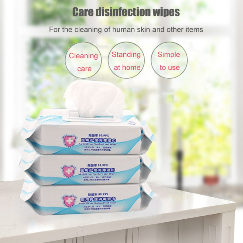 25pcs/Box Medical Disinfection Portable No Alcohol Wet Wipes Antibacterial Sterilization Clean Hand Disinfection Wounds Toys