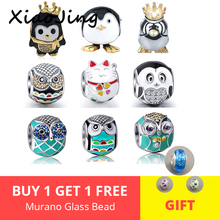 Hot sale Fit Pandora charms Silver 925 original Beads Bracelets New Fashion owl & cat For Jewelry Making Women Gifts