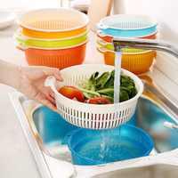 Home Kitchen Gadget High Quality PP Plastic Washing Basket Set Fruit Basket Double Drain Basket Multi Color Optional