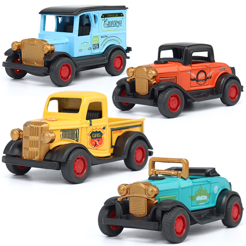 Scale 1:64 Diecast Alloy Toy Model Car 4 Piece Set Pull Back Classic Retro Pocket Mini Kids Vintage Car Model Toys For Boys