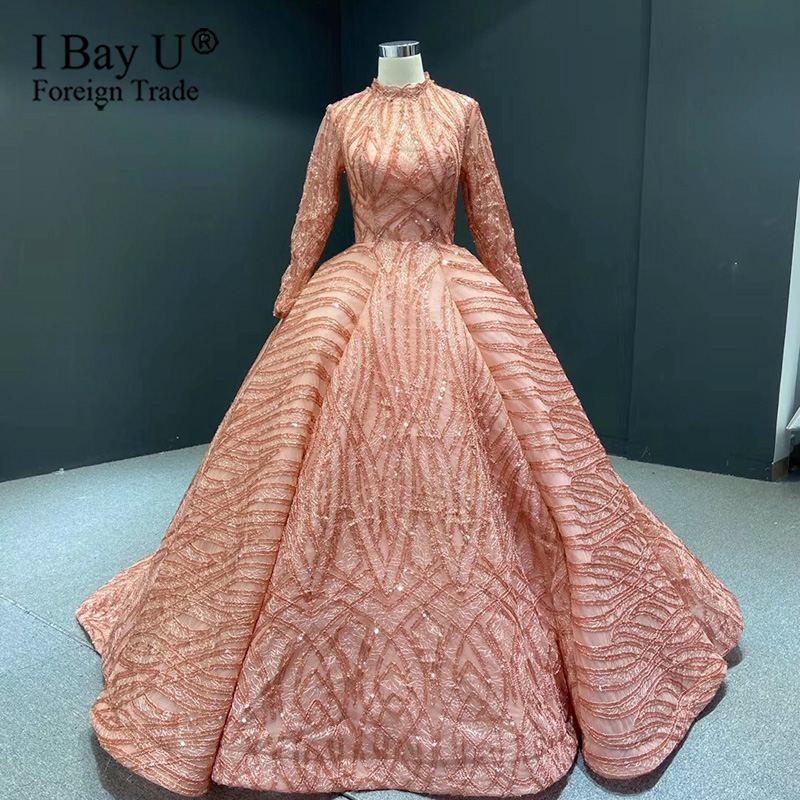 Muslim Wedding Dress 2020 Orange High Collar Sequined Formal Wedding Party Gown Long Sleeve Sparkle Luxury Bridal Gowns