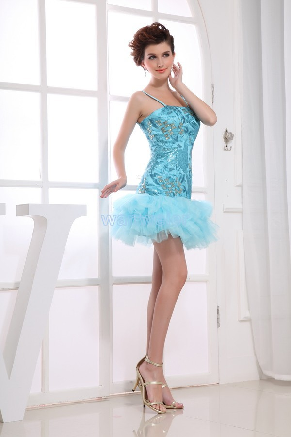 Free Shipping 2014 New Beyonce New Hot Brides Maid Dress Gown Custom Size/color Short Blue Strap Sexy Mini Celebrity Prom Dress