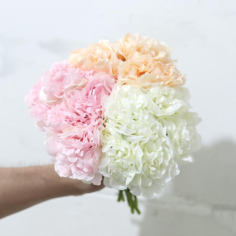 Искусственный Пион из шелка с 5 головками, розовая роза, цветы, Гортензия, свадебный букет для украшения дома, вечерние дешевые искусственны...