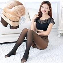 Preto pele de imitação mulheres collants inverno meia-calça transparente elástico sexy collants quente grosso meia-calça para meninas meias