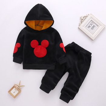 цена на Girls Clothing Sets Mickey Children Clothes Set Cotton Coat Long Sleeve Sweatsuit + Pants Baby 2Pcs Suit Kids Clothes Girls 2-6Y