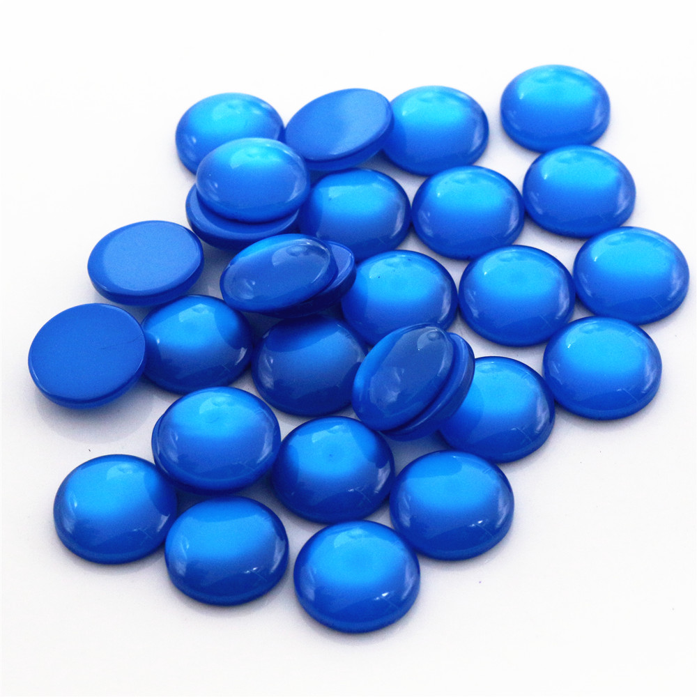 New Fashion 40pcs 12mm Blue Color Flat Back Resin Cabochons Cameo  G6-29
