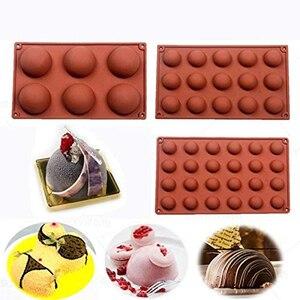 Chaude 3D ronde demi-boule Silicone gâteau moule à la main glace Cube plateau gâteau cuisson Pan Cupcake biscuits gelée gâteau décorations