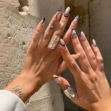 24pcs Detachable False Nails with Design Patch Glue Type Removable Long Paragraph Fashion Manicure False Nails Patch for Grill