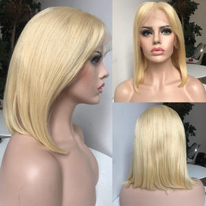 Image 4 - Rosabeauty HD Transparen 613 Ombre Blonde 13x6 Lace Front Human Hair Wigs Brazilian Short Bob Straight Remy Frontal Wig