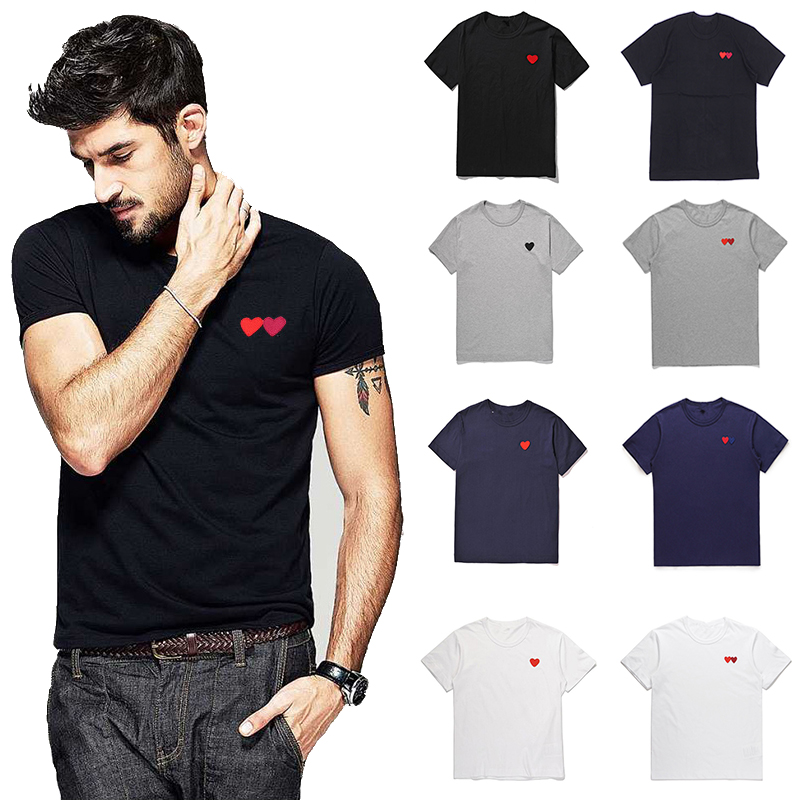 (Have eyes)Couple T Shirt 2020 Casual Embroidery Single/double Love Heart Breathable Tshirt Casual Summer Outfits For Man Women T-Shirts    - AliExpress