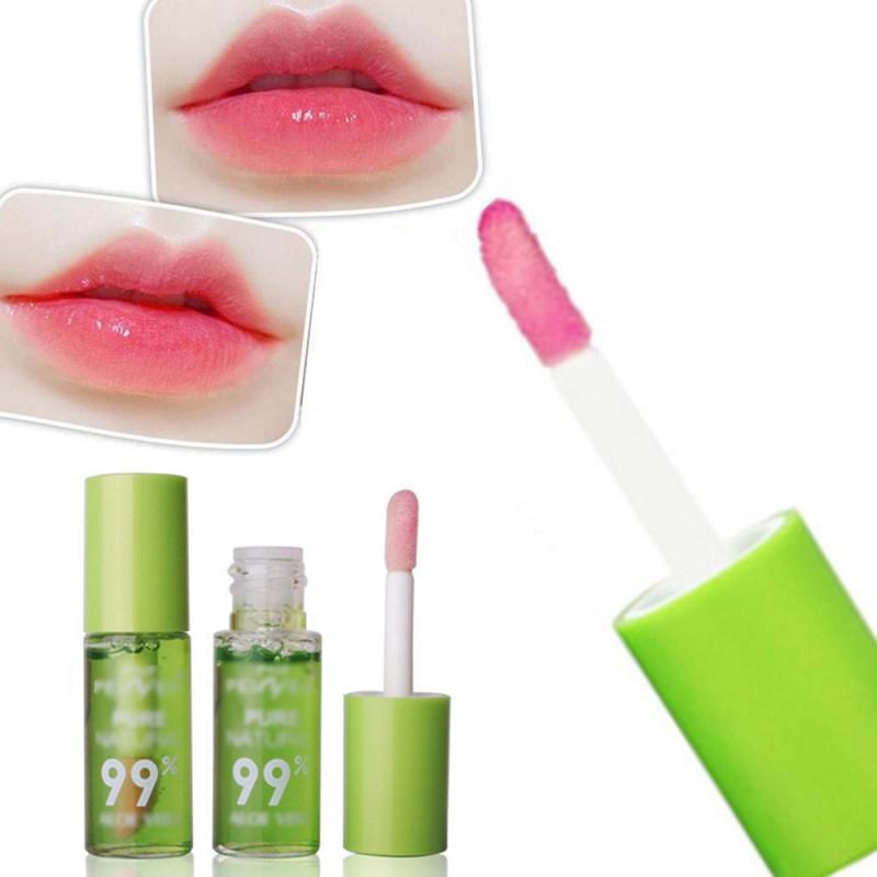 1 шт Увлажняющая полоска с алоэ блеск для губ, которые меняются на Цвет Портативный Водонепроницаемый, Длительное Действие, которая помогае...