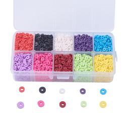 1 caixa de 10 cores ambiental feito à mão contas de argila de polímero disco/plana redonda heishi grânulos para mulheres colar de jóias artesanato fazendo
