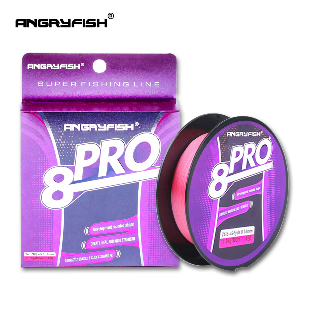 Angryfish New Pro 8x 300M Braided Fishing Line High Strength Incredible Superline Abrasion Resistant And Improved Braided Line