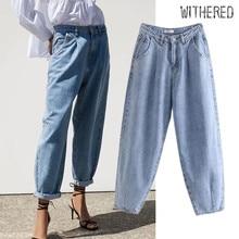 Увядшие уличные винтажные джинсы для мамы, женские свободные джинсы с высокой талией, рваные джинсы для женщин, джинсы для женщин в стиле бойфренд размера плюс