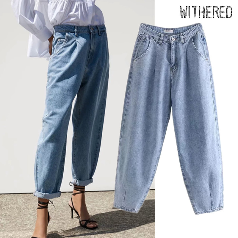 Withered high street vintage mom   jeans   woman loose high waist   jeans   ripped   jeans   for women boyfriend   jeans   for women plus size
