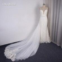 Detachable Train Sheath Wedding Dress High Quality Lace Low Back Deep V Neckline
