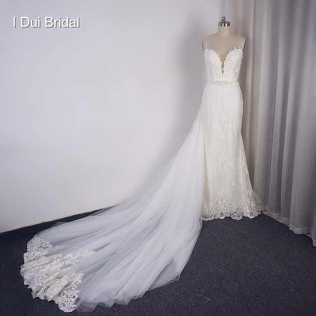 Detachable Train Sheath Wedding Dress High Quality Lace Low Back Deep V Neckline