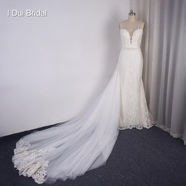 להסרה רכבת נדן חתונת שמלה באיכות גבוהה תחרה נמוכה חזרה עמוק V מחשוף