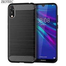 ZOKTEEC Silicone Case For Huawei Y6 Prime 2018 ShockProof Fitted Carbon Fiber Soft TPU Phone Cover Pro 2019