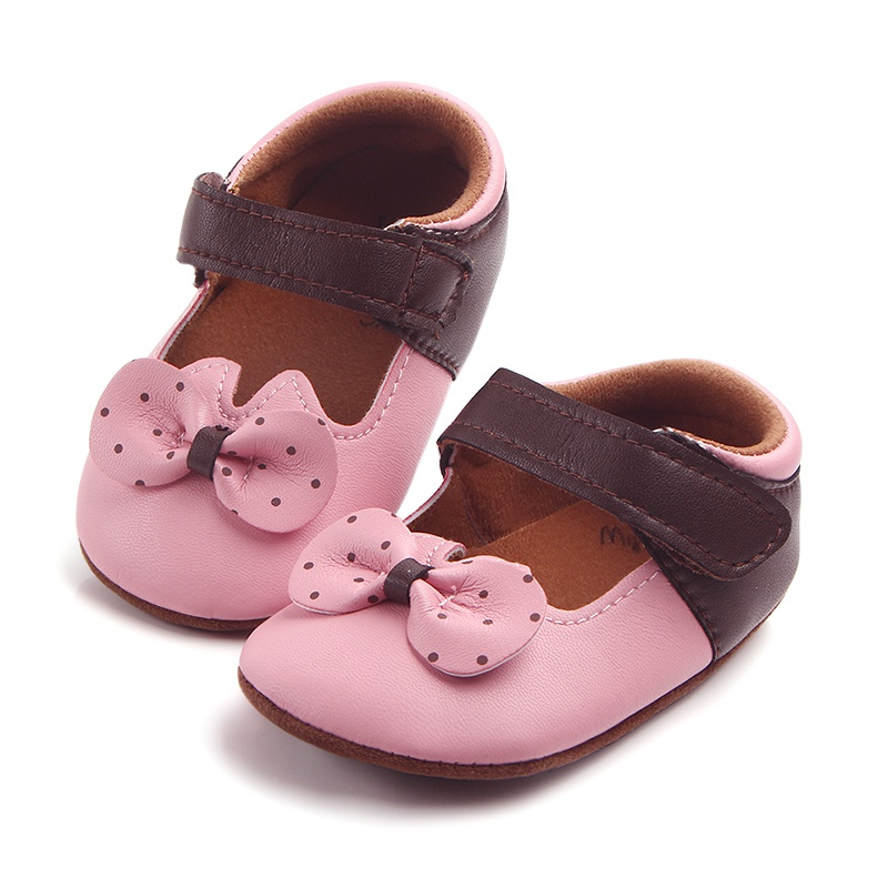 Cute Princess Baby Shoes White & Pink Spring Solid Shoes Female Baby Slip-resistant Toddler Polka Dot Bowknot Shoes A