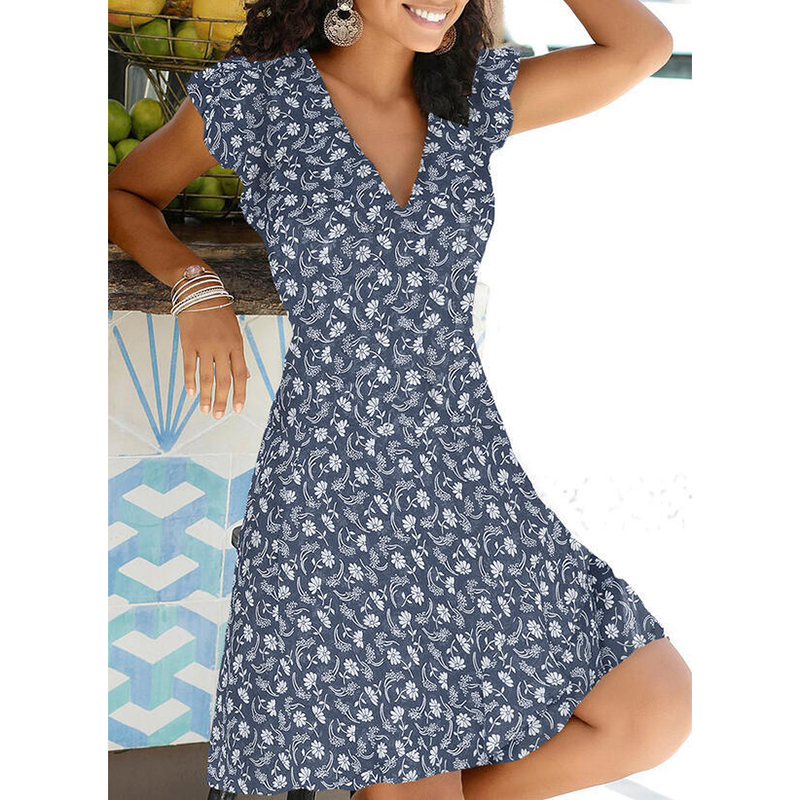 New Summer V Neck Floral Print Party Dress Women Vintage Sleeveless Tank Mini Dress Spring Loose Plus Size A-Line Dress 2021 7