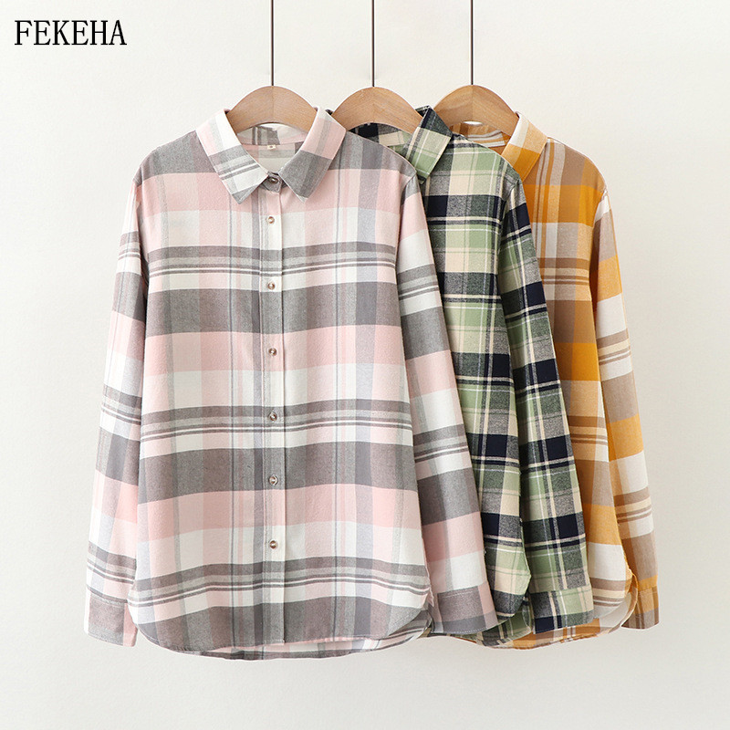 Plaid Shirts Women Blouses And Tops 100% Cotton Long Sleeve Casual Fresh Checked Ladies Tops Blusas Spring New College Style