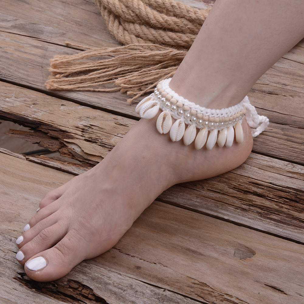 Wedding Ivory Crochet Barefoot Sandals Foot Jewelry Victorian Lace Bridal Shell Anklet Necklace Bracelet Beach Accessories