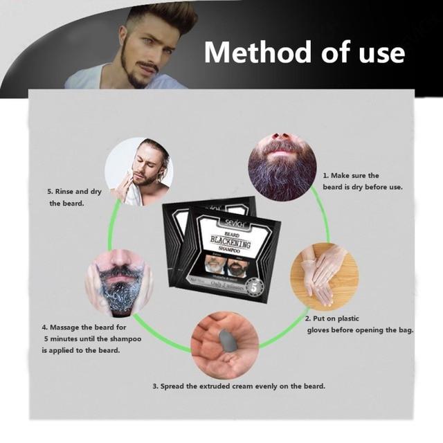 5pcs Beard Blackening Shampoo Natural Without Stimulation Dyed Beard Shampoo Beard Care Q1 6