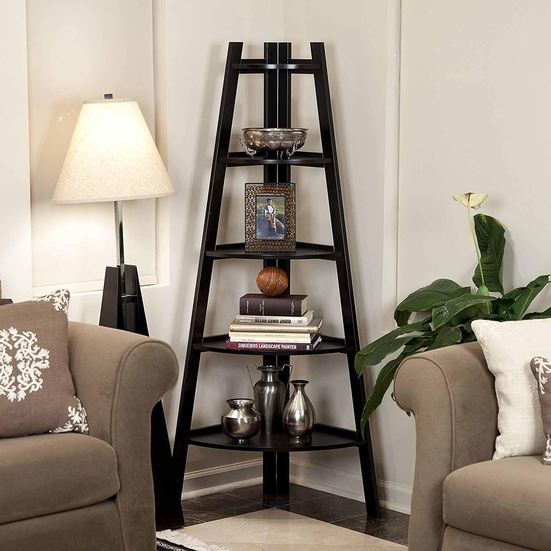 Black 5 Tier Corner Shelf Stand Wood Display Storage Home