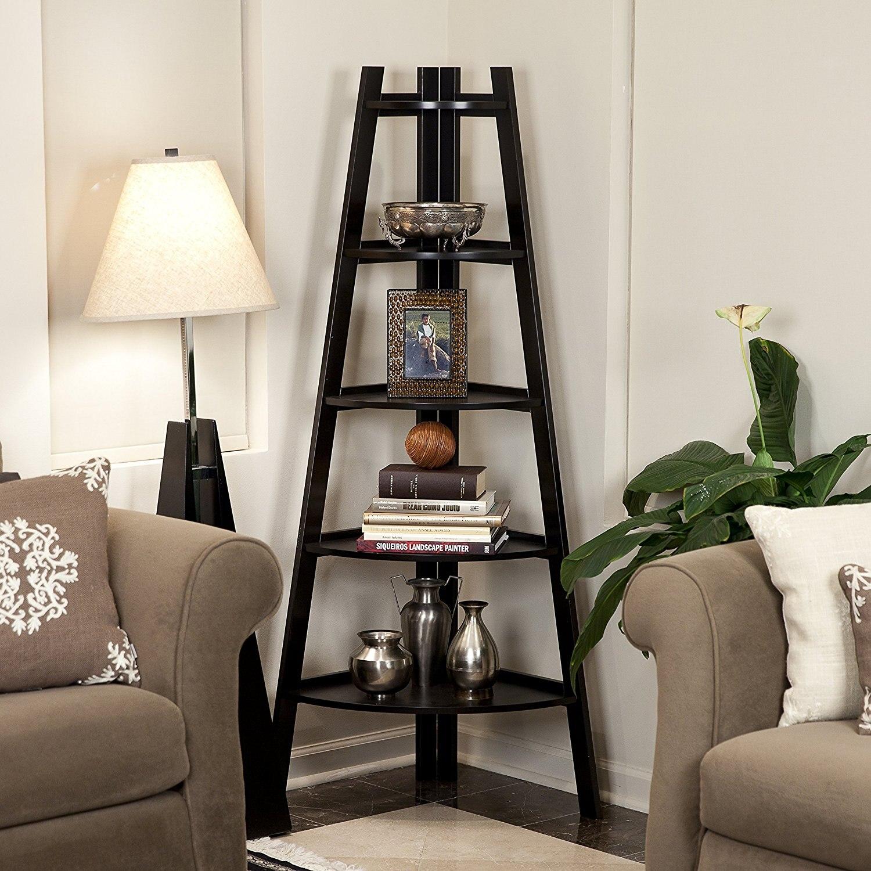 Black 5 Tier Corner Shelf Stand Wood Display Storage Home Furniture As Book Shelf Living Room Loker Shelf - US Stock