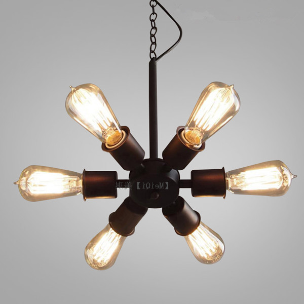 Loft American Vintage Black Iron Industrial Wind Pendant Light Study Restaurant Bar Cafe Living Room Lamps Luminaria