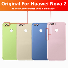 Original For Huawei Nova 2 Back Battery Metal Cover + Camera Glass  Lens + Side Key Rear Housing Cover Replacement Spare Parts