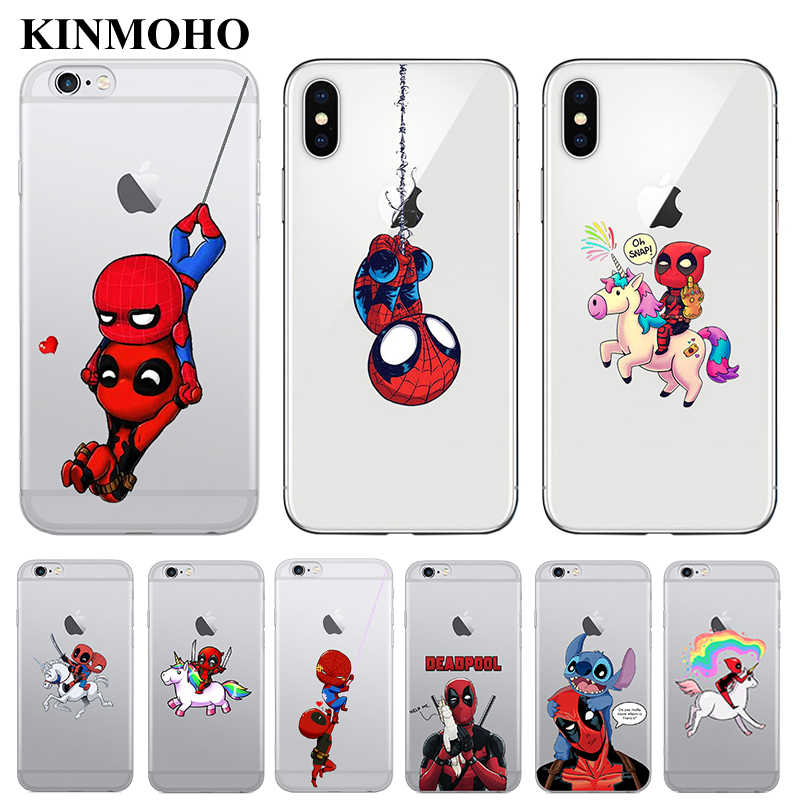 Funda de teléfono SpiderMan Deadpool ride unicornio para iPhone 7 6 6S 8 Plus Spider Man para iPhone 5S iPhone 5 XS MAX X XR Funda Coque