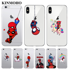 SpiderMan Deadpool ride Unicorn Phone Cases Cover For iPhone 7 6 6S 8 Plus Spider Man For iPhone 5s SE 5 XS MAX X XR Funda Coque spider man into the spider verse for funda iphone xs max case cover for case iphone 6s plus 5 5s se 6 7 8 plus xr x cases cover