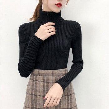 Fashion Women 2019 Korean Winter Clothes Turtleneck Scarf Collar Sweater Rolls Woman High Neck Sweater Black Knitted Slim Shrug 2