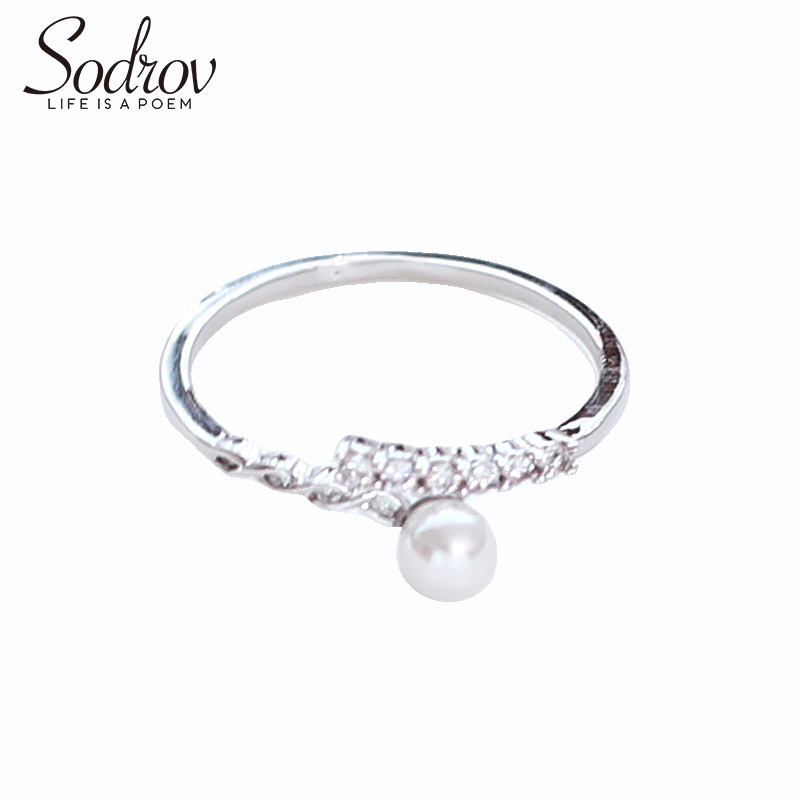 SODROV 925 Sterling Silver Pearls Ring Resizable Engagement Wedding Jewelry For Women R054