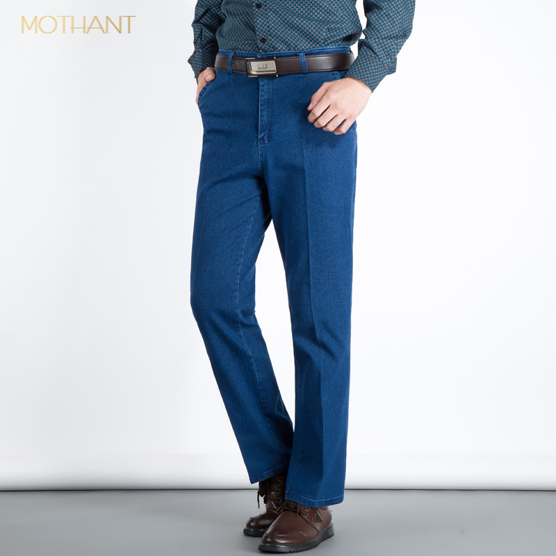 Spring Men's Jeans Men's High Waist Straight Loose Elastic Squat Middle And Old Aged Summer Thin Father Trousers